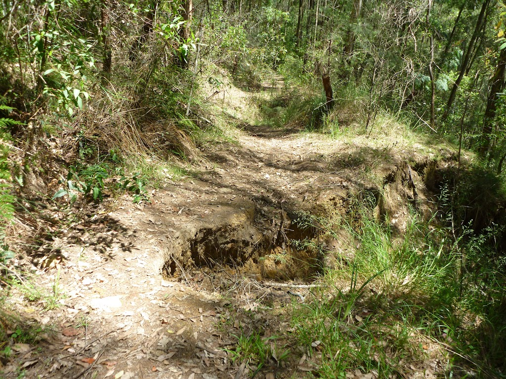 Washed away section of old trail east of the Lower Mooney Mooney Dam