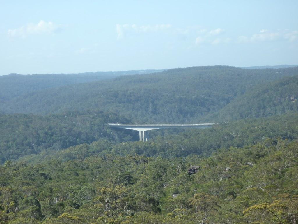 View of Mooney Mooney F3 freeway bridge from north of Scopas Peak