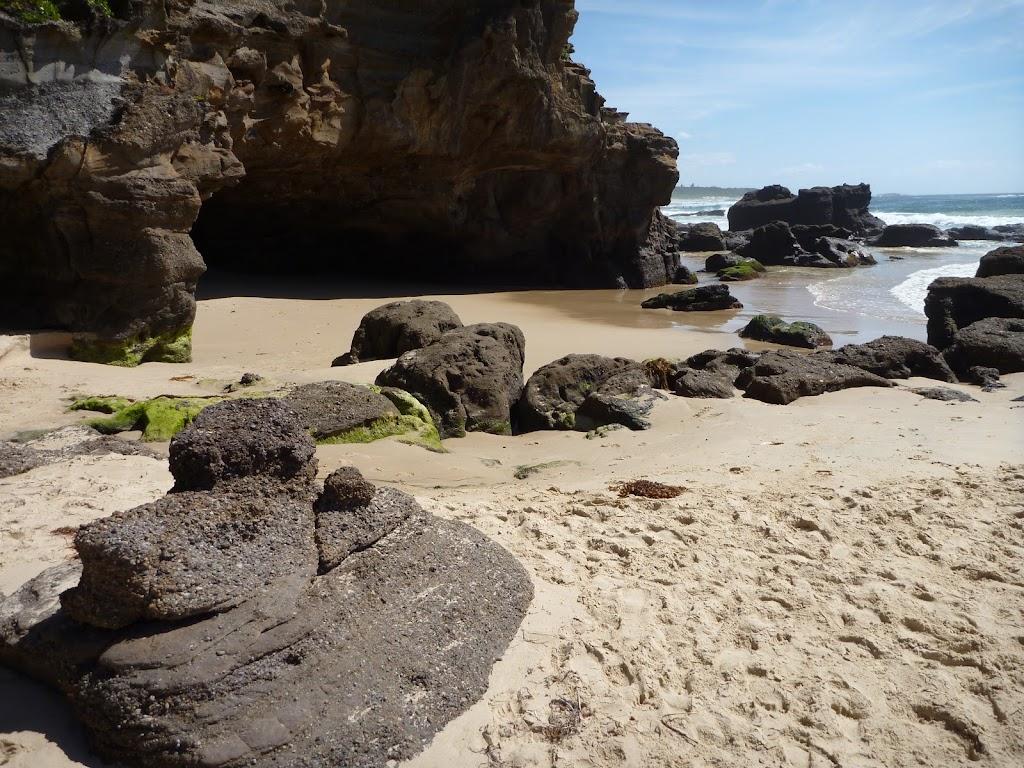 Sandy beach outside Caves Beach Caves