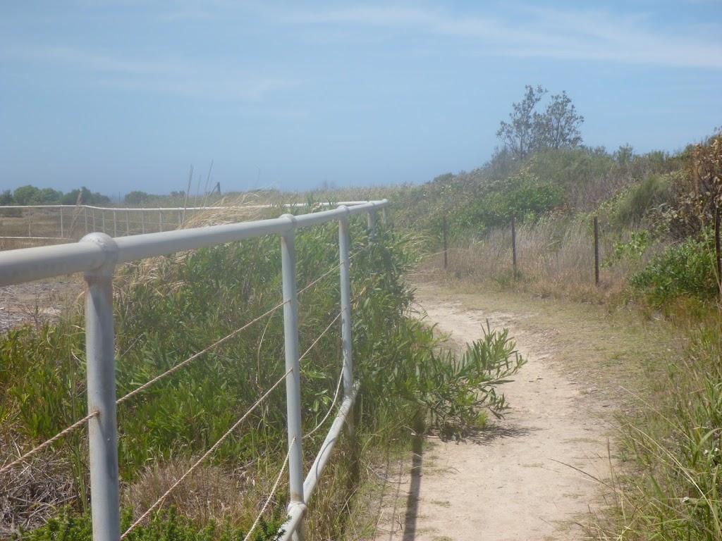 Metal railing on the coastal walk in the Wallarah Pennisula
