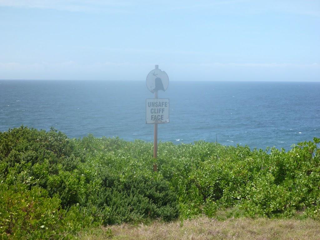 Safety sign in the coastal walk in the Wallarah Pennisula