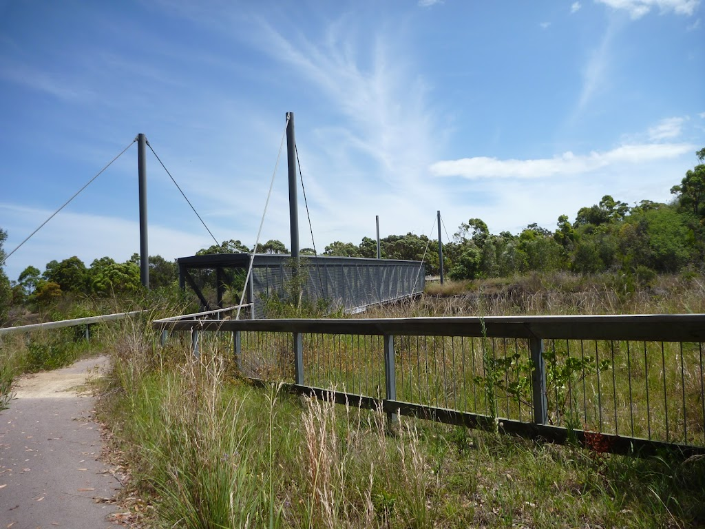 Fencing approaching the pedestrian over bridge on the Wallarah Pennisula Walk