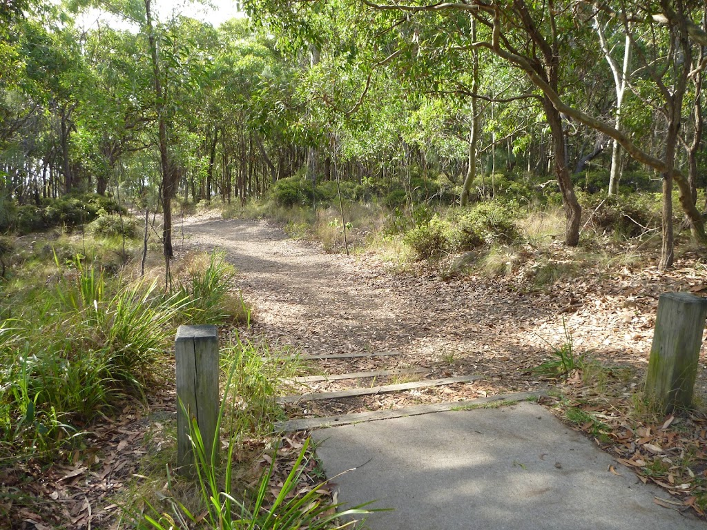Track and timber sign in Green Point Reserve on Lake Macquarie