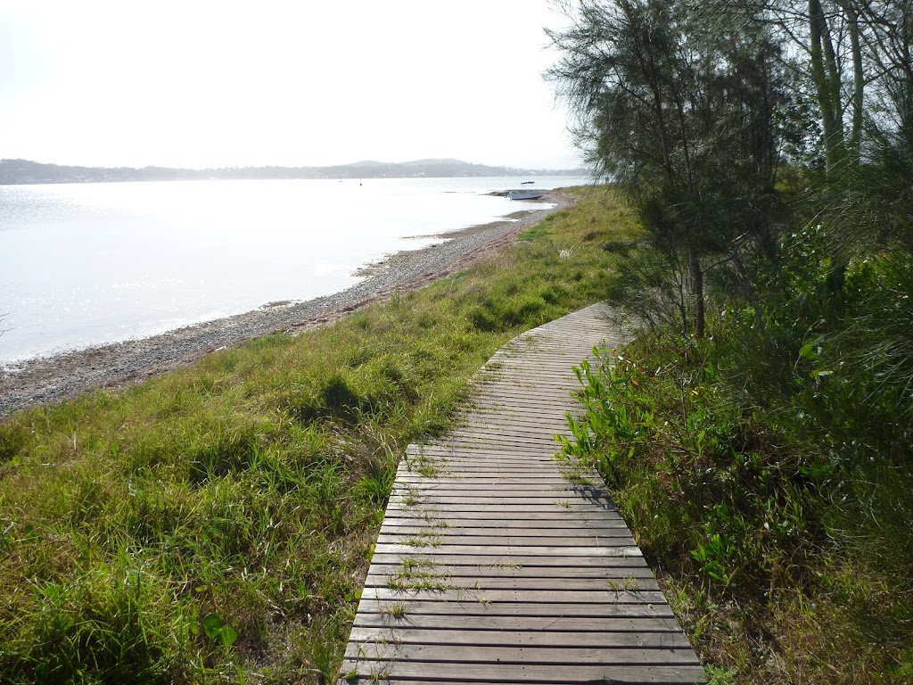 Timber boardwalk in Green Point Reserve by Lake Macquarie