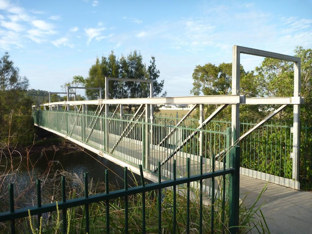 Metal foot bridge over the Belmont Lagoon