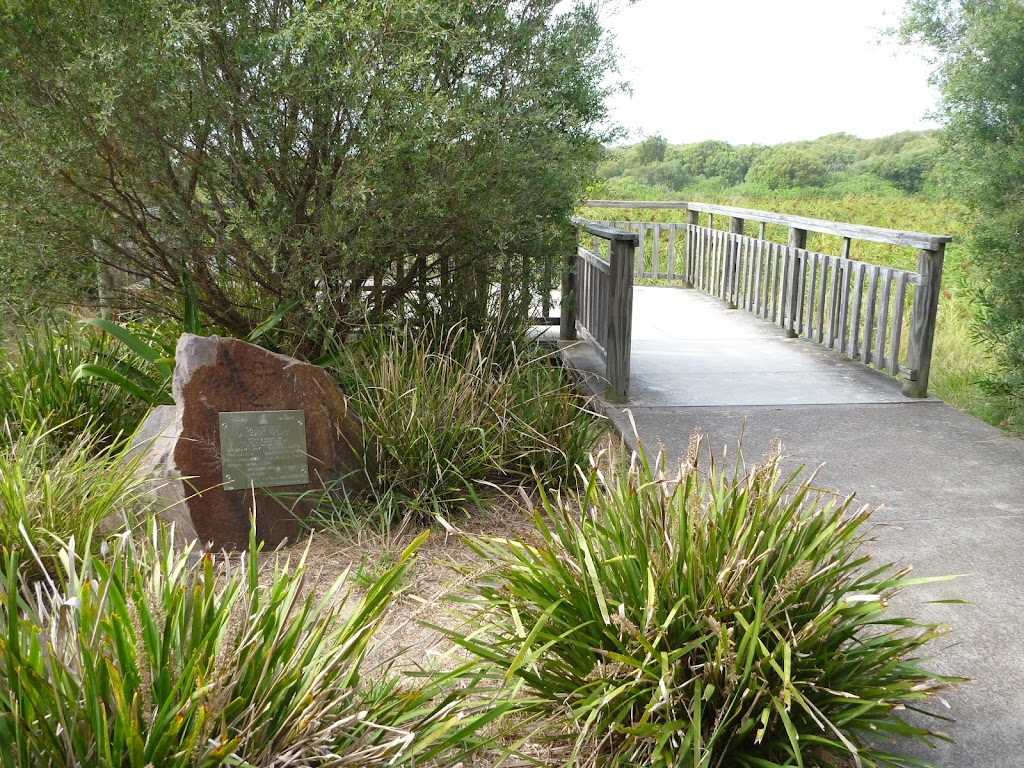 Stone monument and Viewpoint on the Owens Walkway in Redhead