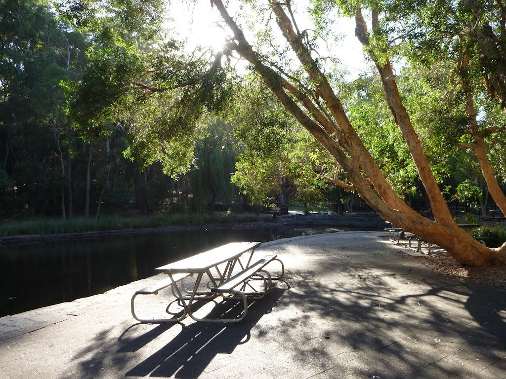 Picnic table by pond at Carnley Ave Reserve