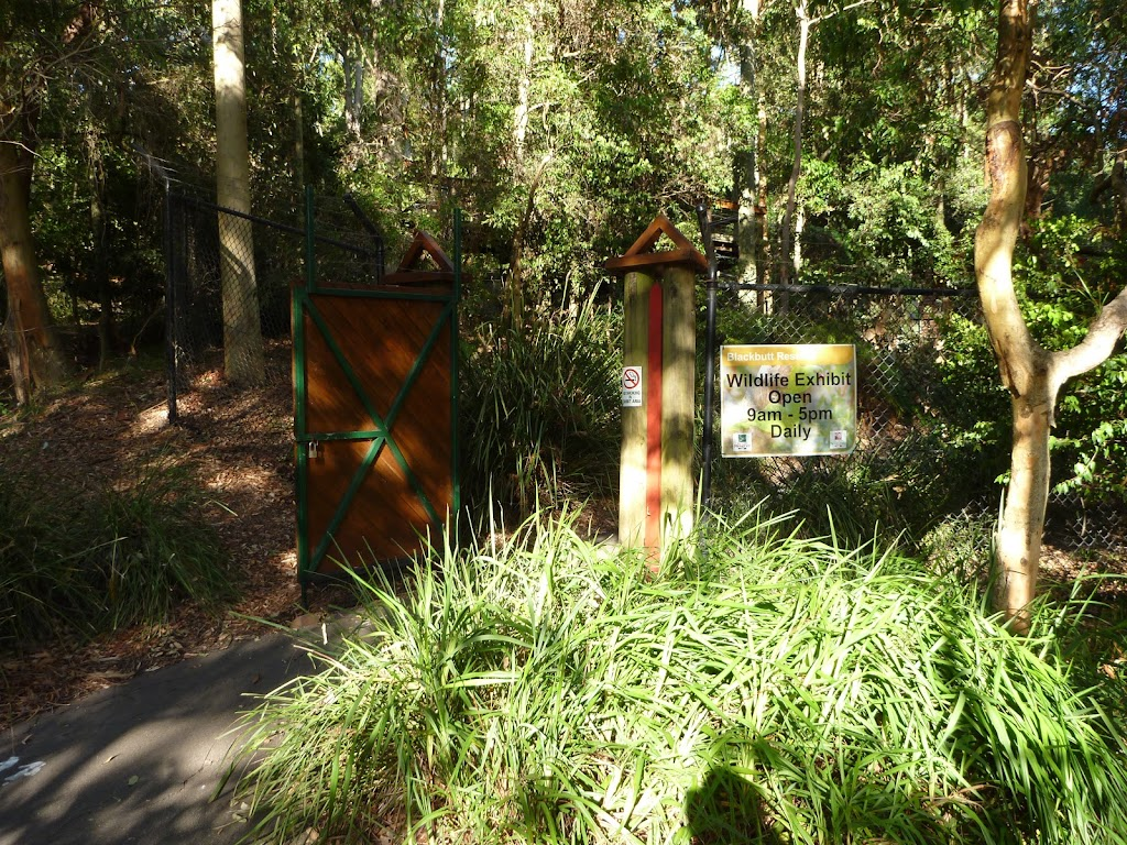An entrance to the Wildlife Exhibits at Carnley Reserve in the Blackbutt Reserve