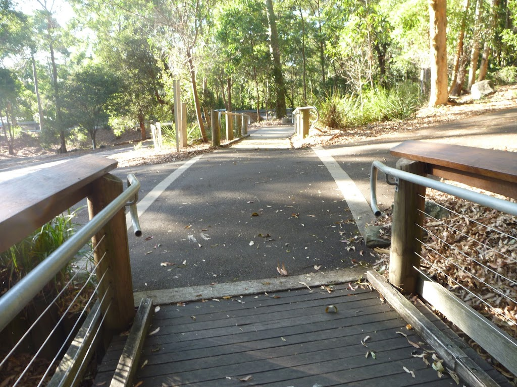 Intersection near the entrance to the Wildlife Exhibits at Blackbutt Reserve