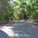 Open gate at Lookout Road Car Park in Blackbutt Reserve