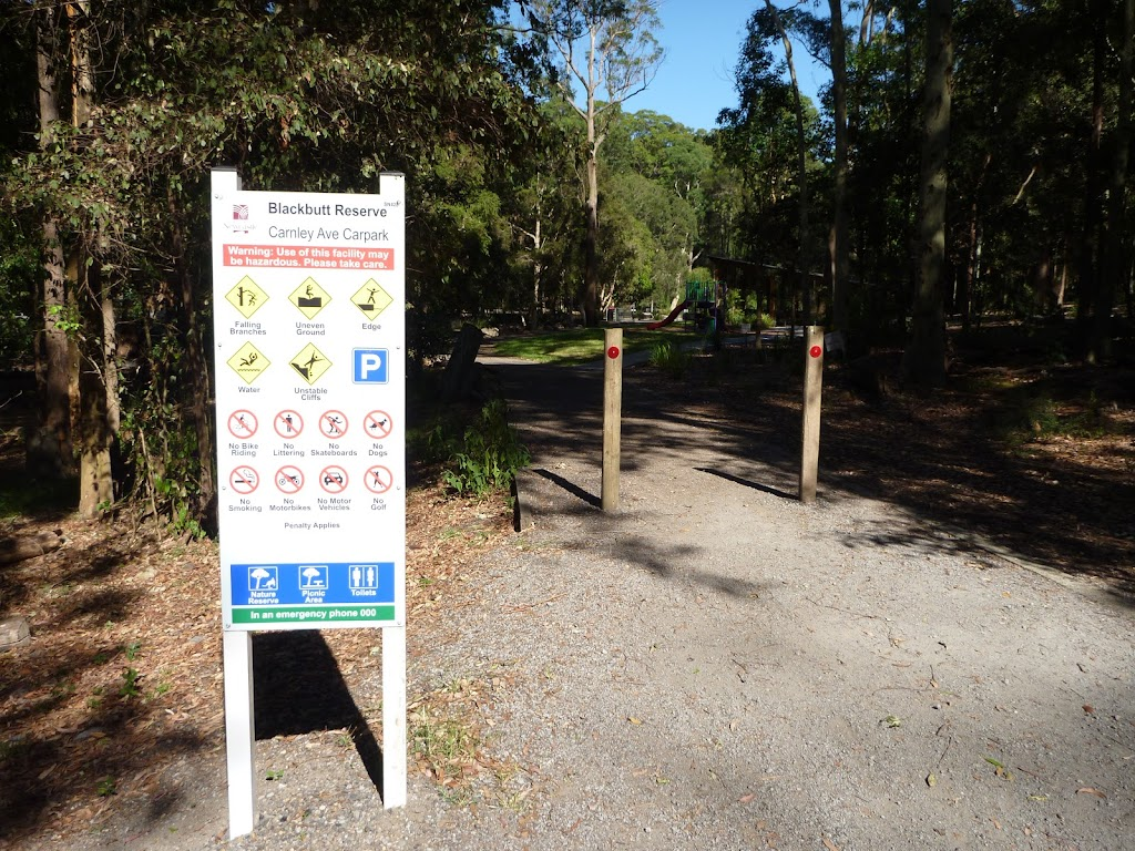 Sign and footpath in Carnley Ave Reserve (400120)