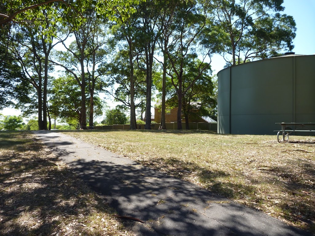 Water tank and picnic area on Ridgeway Road in Blackbutt Reserve