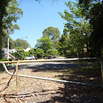 The end of Ridgeway Road and a locked gate near Blackbutt Reserve