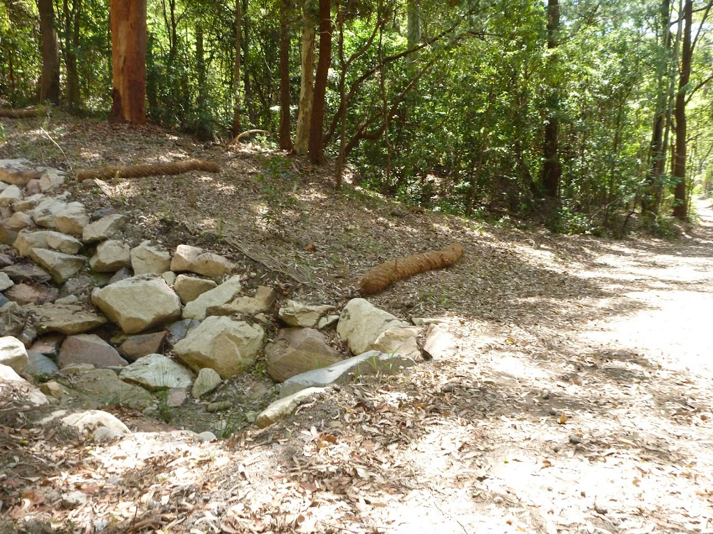 Dry creek bed with bridge in Blackbutt Reserve