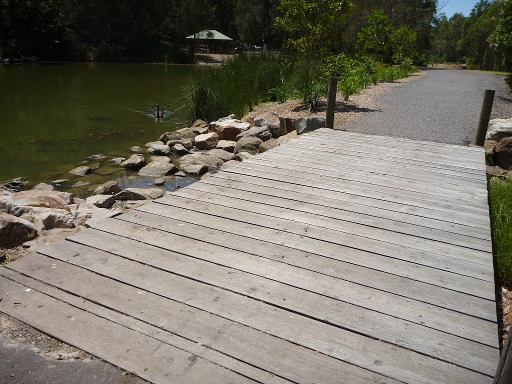 Timber bridge by pond with black swan in Richley Reserve in Blackbutt Reserve
