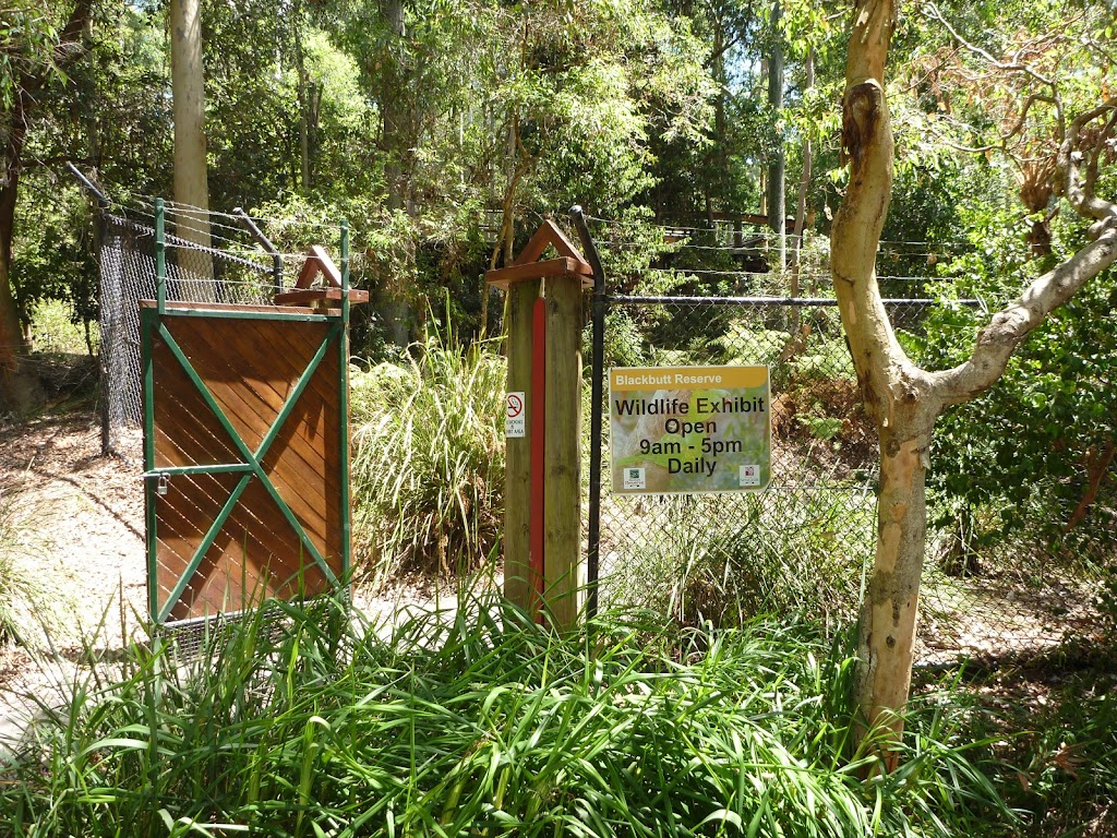 Fenced gateway into the Wildlife Exhibits at Carnley Avenue Reserve in Blackbutt Reserve