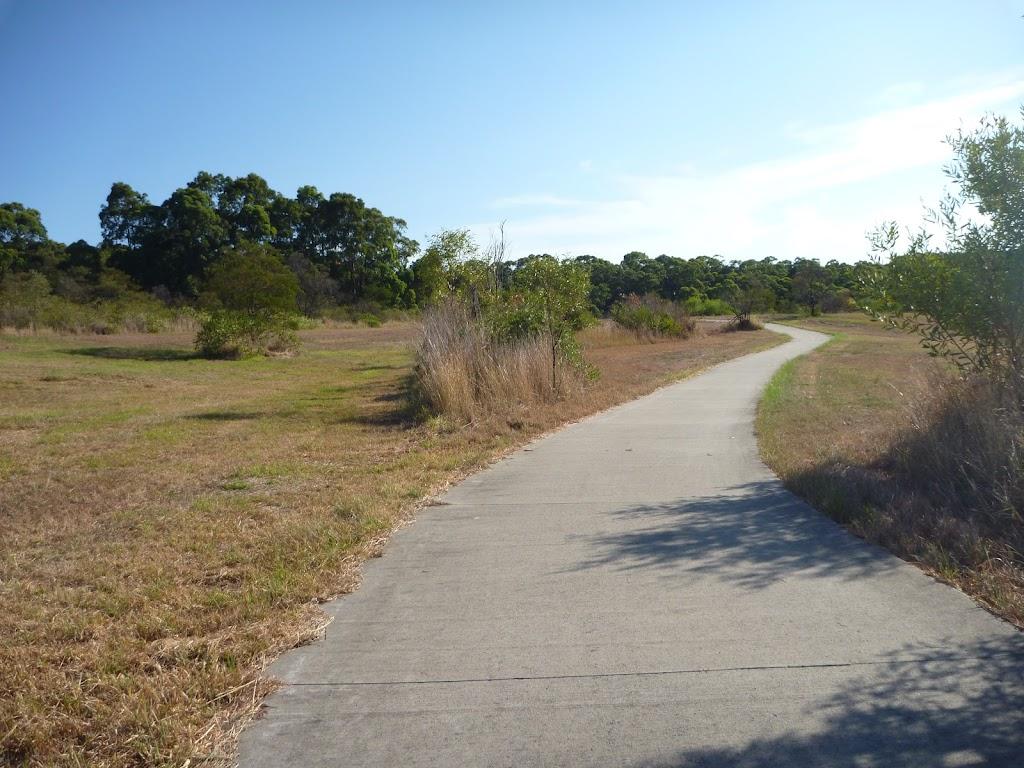 Walking through open grasslands in Green Point Reserve
