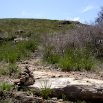 Small cairn marking track up to Mt Hay