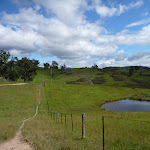 Six Foot Track walking through open farmland west of Megalong Rd