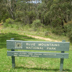 Blue Mountains National Park sign at track head
