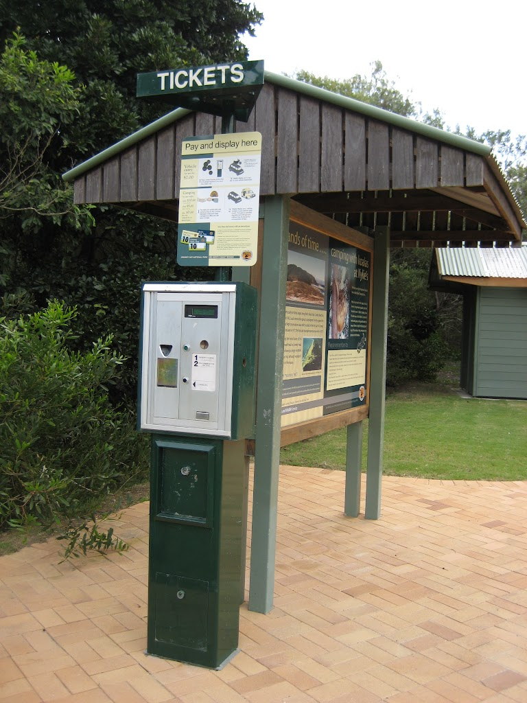 Pay and display at Kylies Beach camping ground
