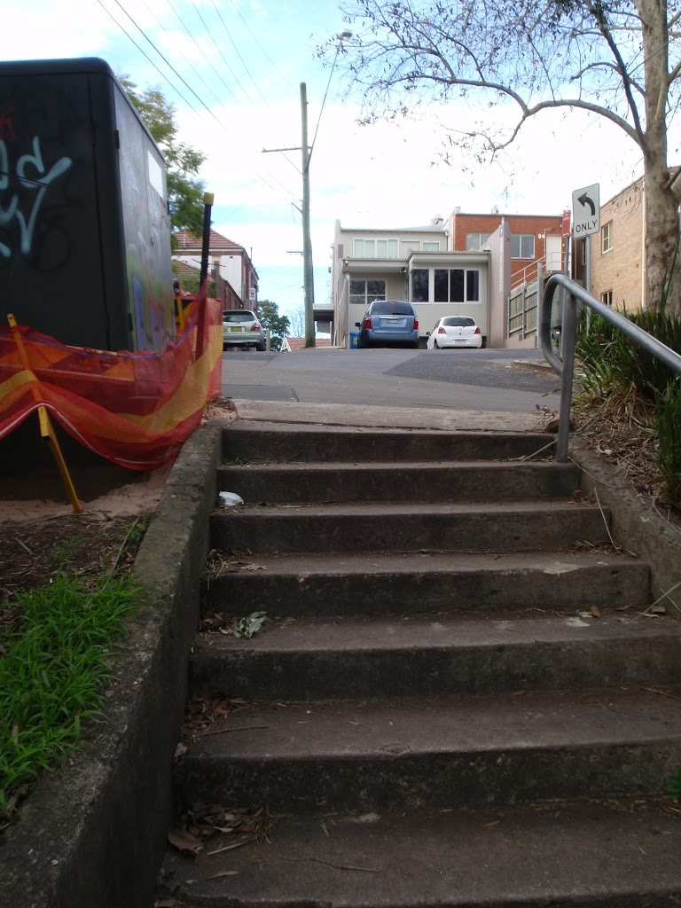 Stairs up to the Pacific Highway and shops