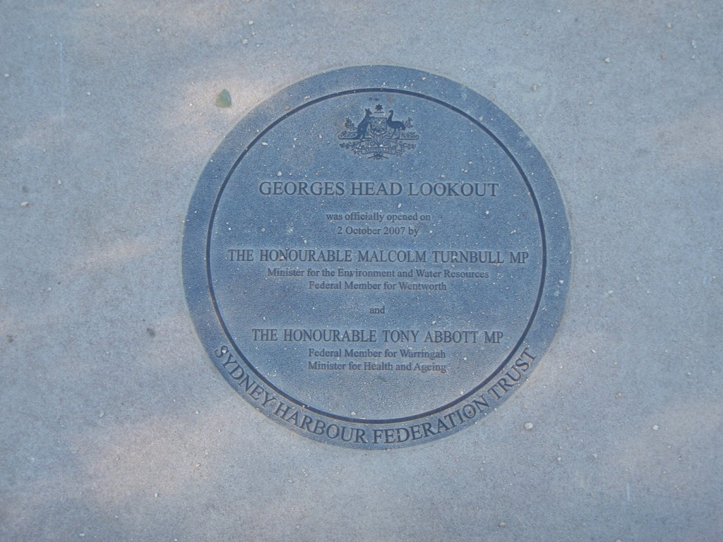 Plaque on Georges Heights
