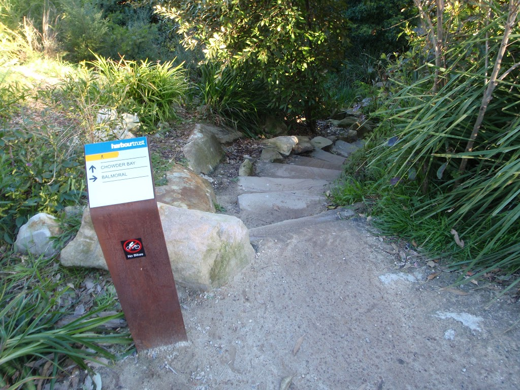 Sign down to Chowder Bay