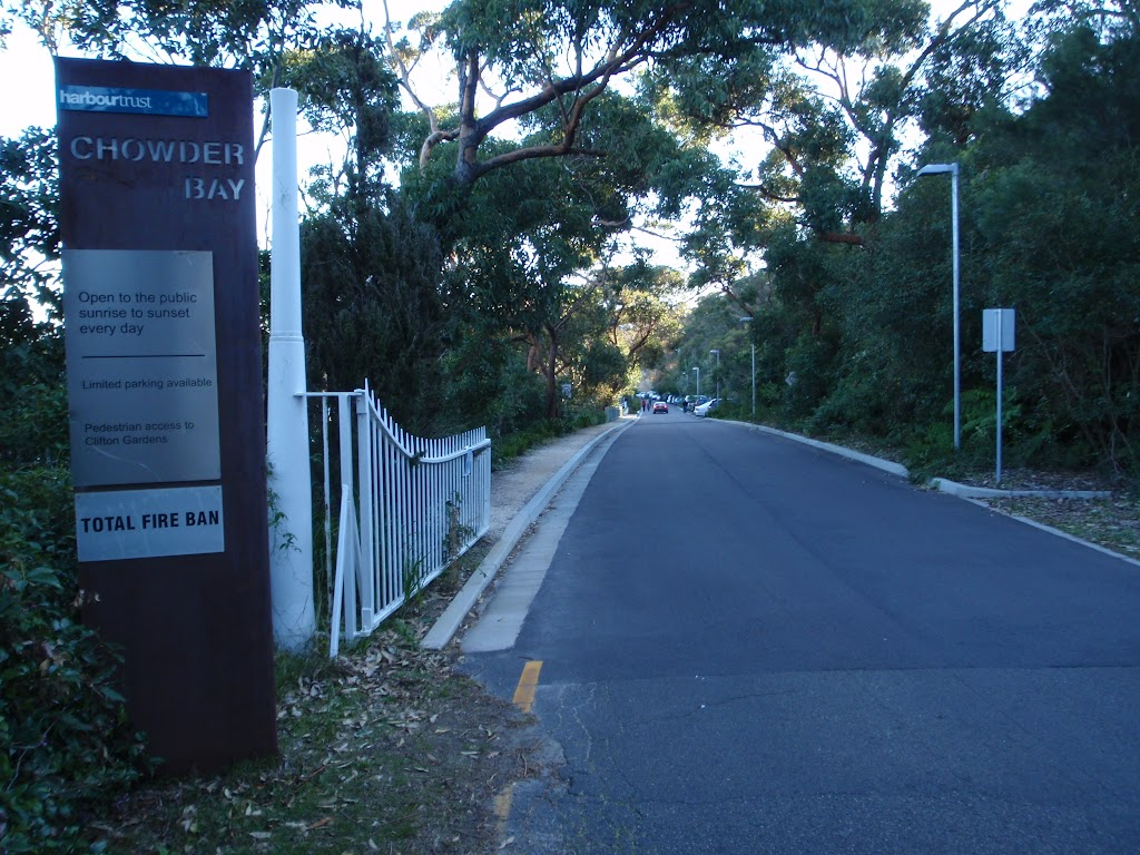 Road through Chowder Bay gates