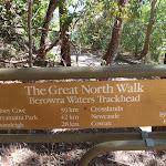 Great North Walk Berowra Waters trackhead sign
