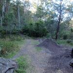 Bike jumps beside track