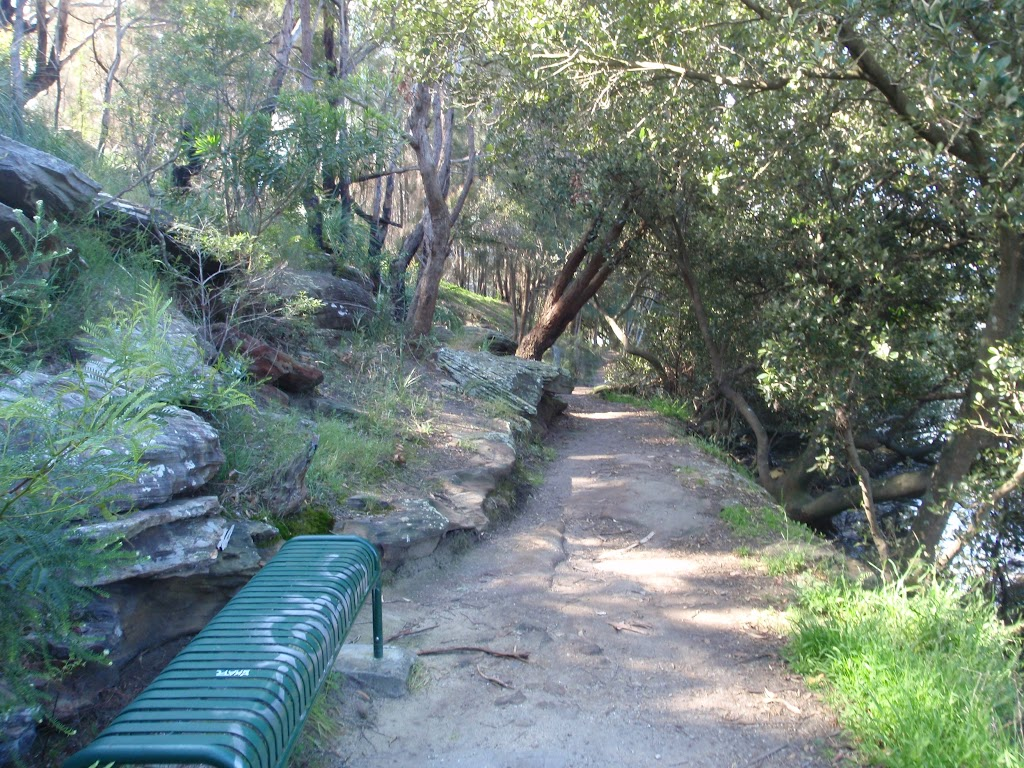Benches and seats are common along the side of the creek