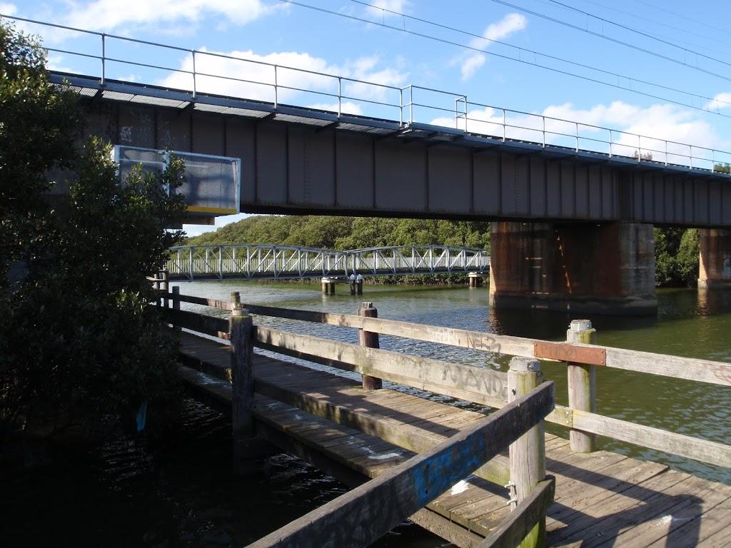 the salt pan creek boardwalk crossing under the railway bridge