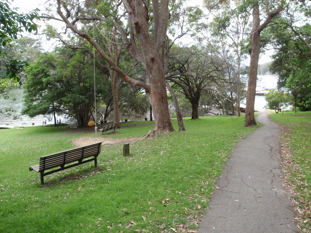 Elvina Bay Park showing seat and rope swing (90627)