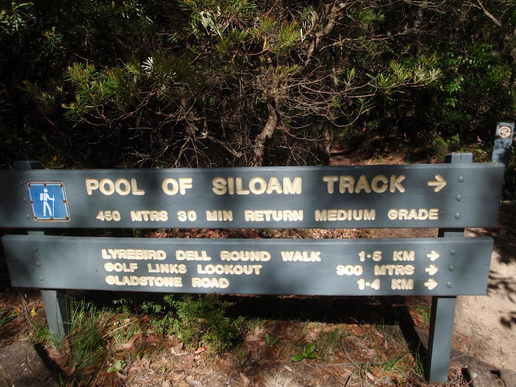 Pool of Siloam track sign